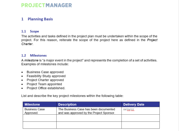 A screenshot of the Project Plan Template, showing the first steps in the form-fillable document you'll see after you download.