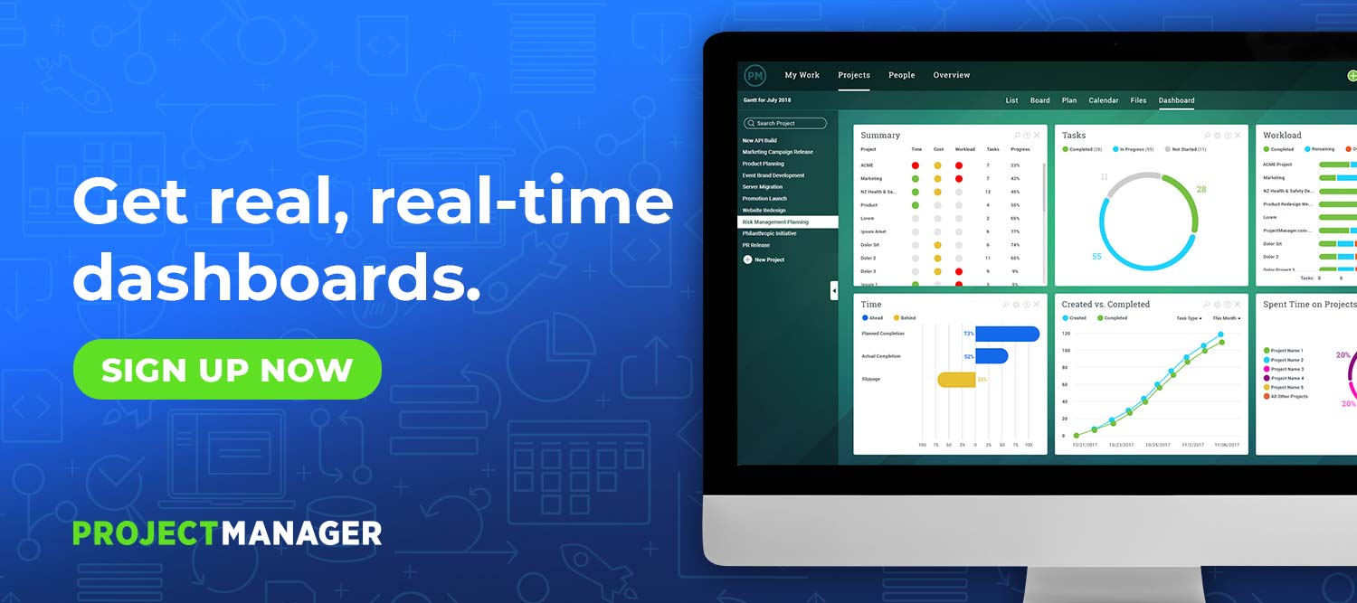 ProjectManager.com Dashboards - Sign Up Now for Free Trial