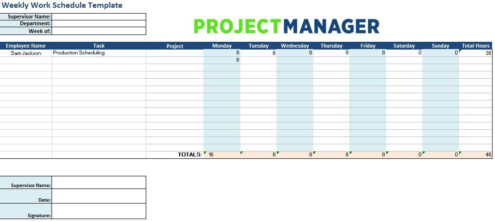 Weekly Work Schedule Template For Excel Projectmanager Com