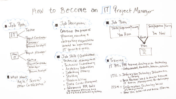 job description, skills, qualifications, job path and training for becoming an IT project manager
