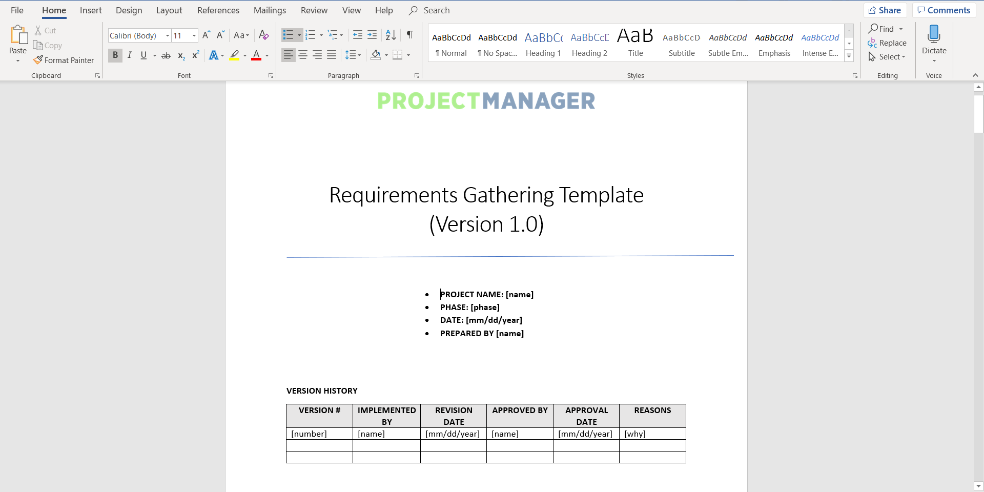 Free downloadable Requirements Gathering Template