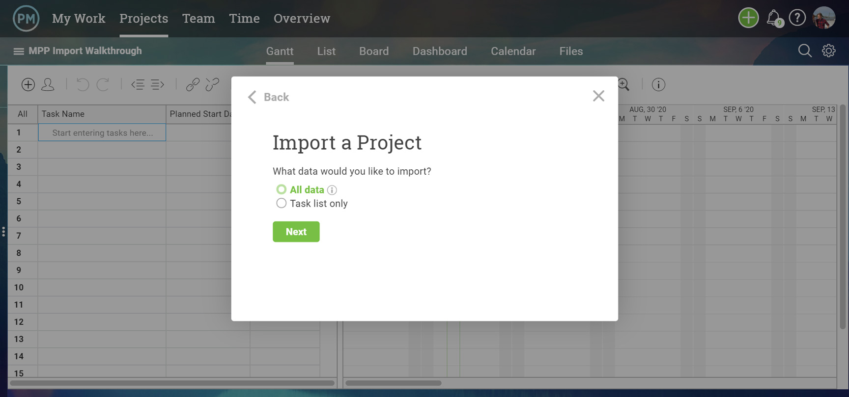 An import prompt asking if you want to bring in all the data or just hte task list