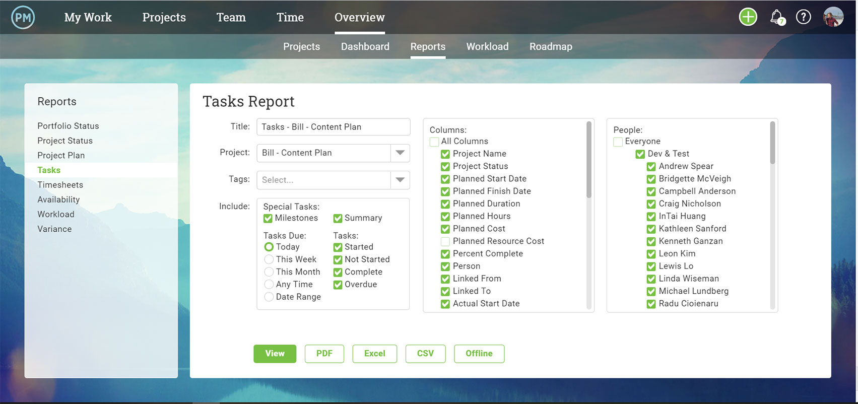 A screenshot of the report generator screen, where you can choose which data you want to be exported