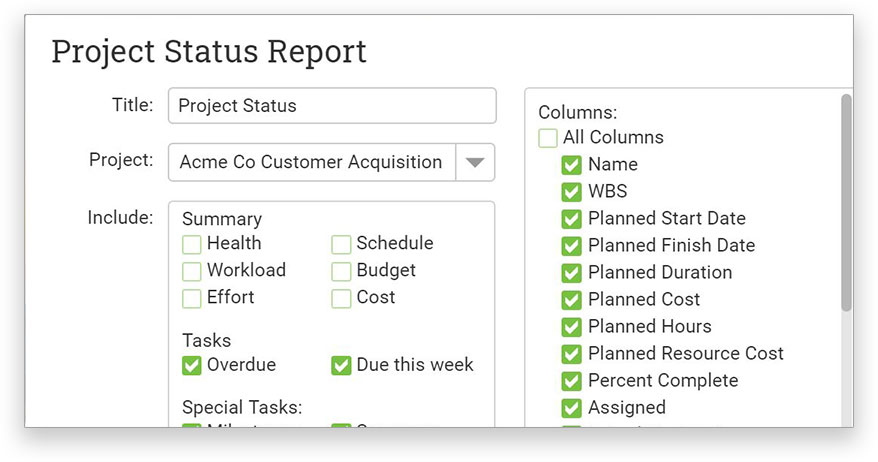 A screenshot of the Project status report page with filters highlighted