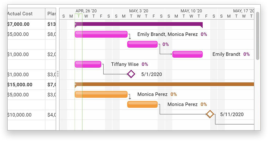 Gantt chart view with resource costs listed
