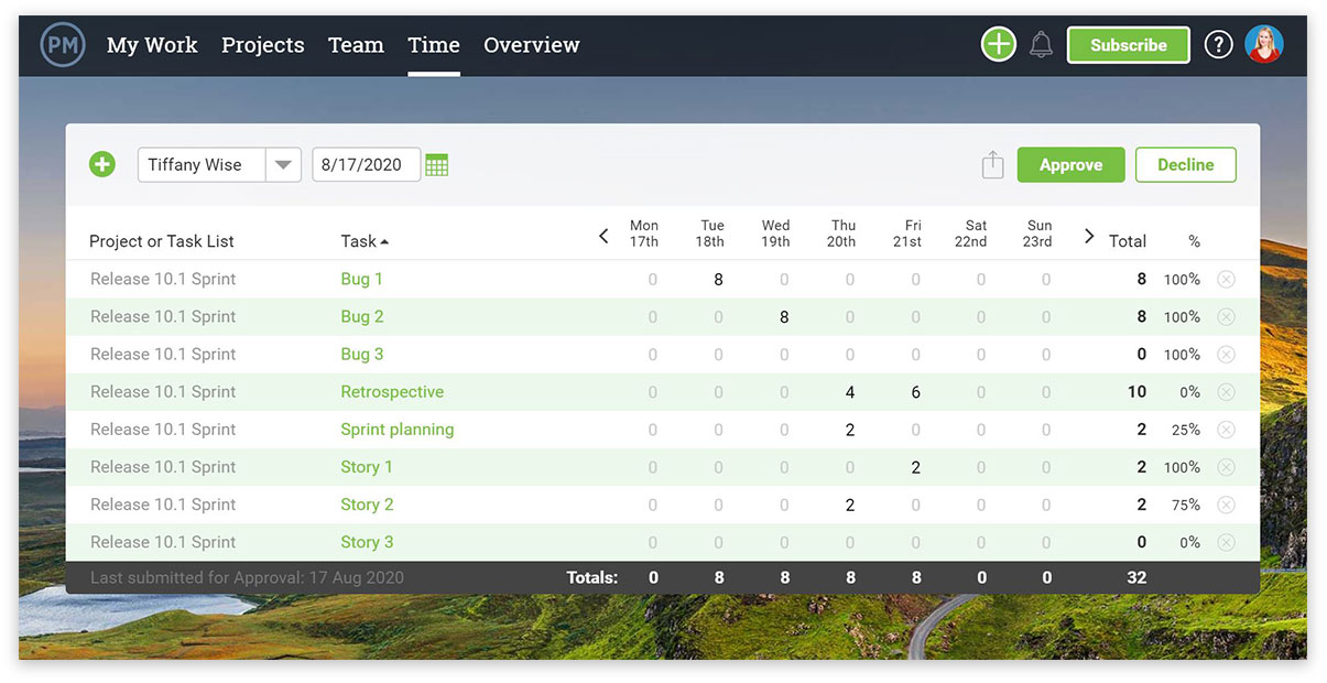 Timesheet view awaiting approval