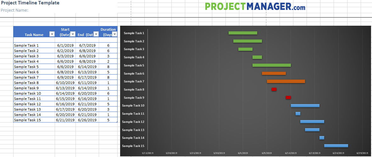 Project Timeline Excel template with list and Gantt view side-by-side