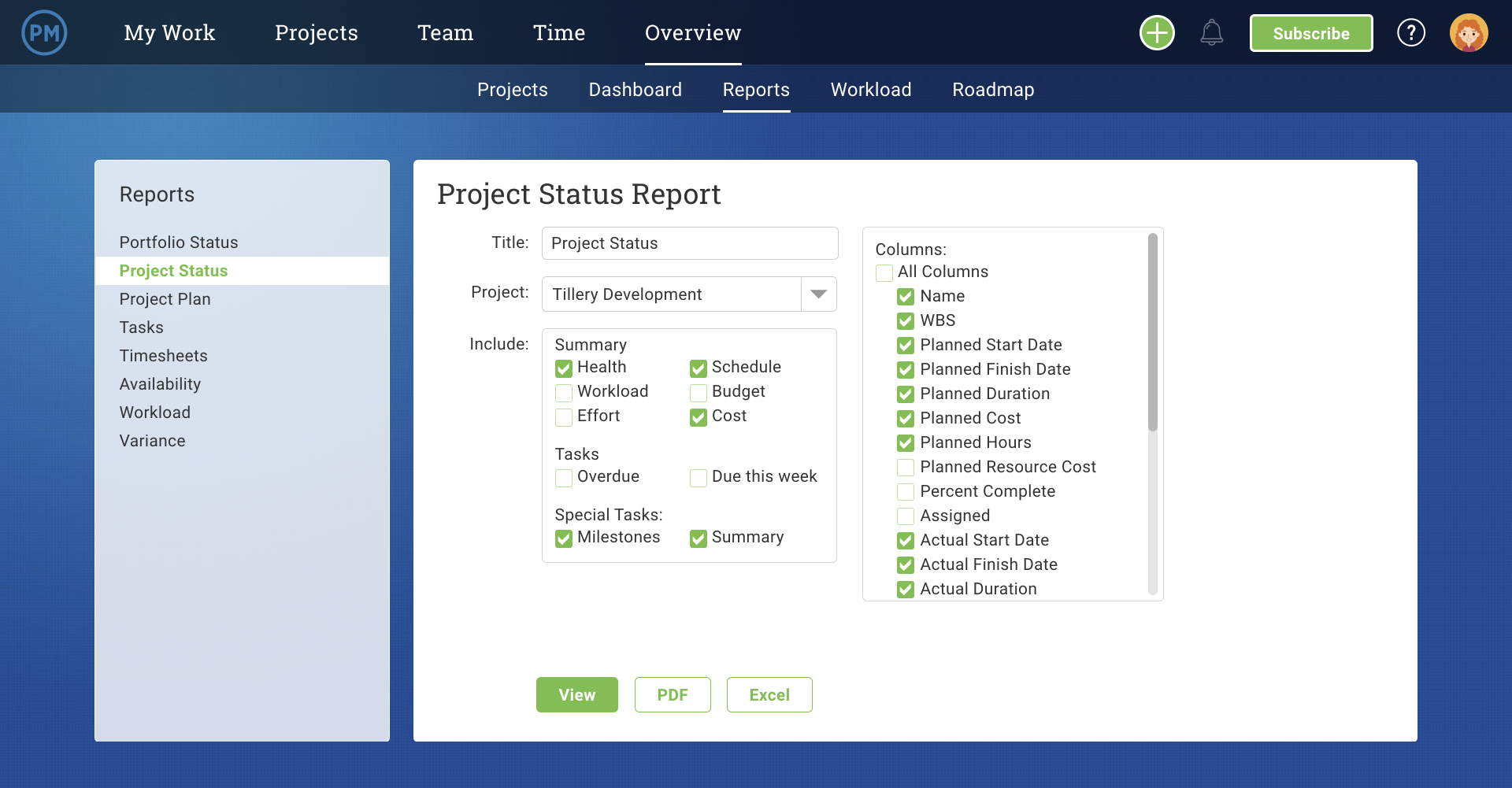 project status report builder