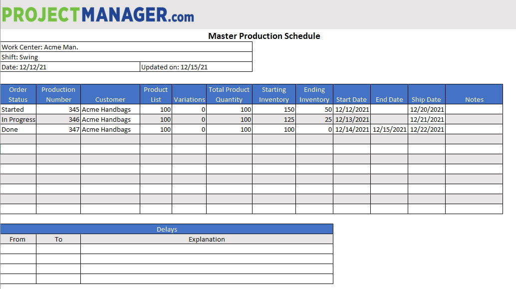 free production schedule template for Excel