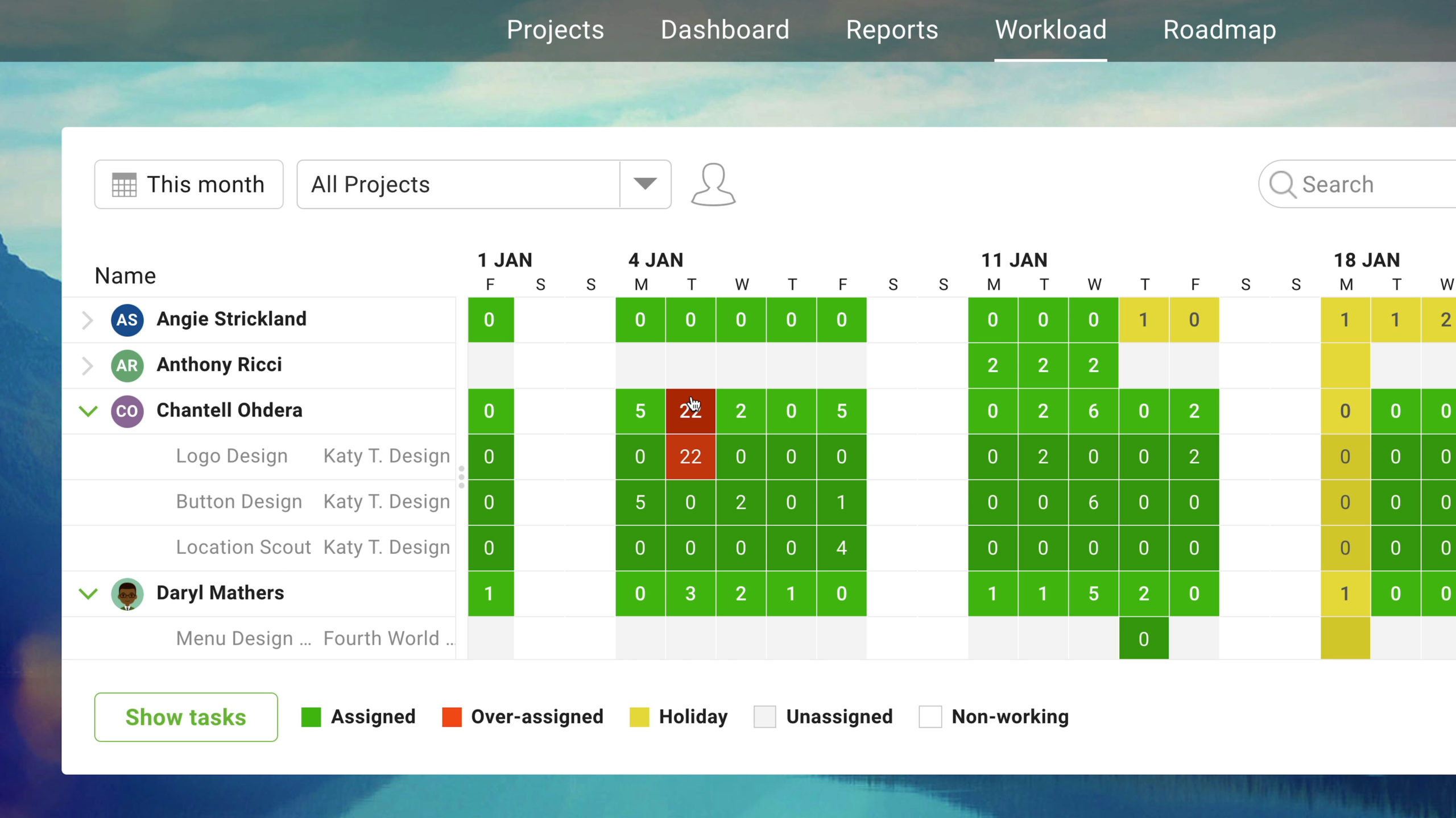 workload page let's you manage your team's assignments